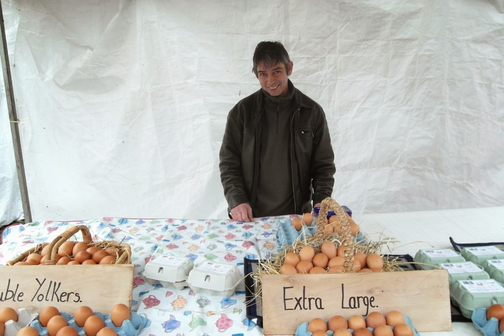 Mr Plewes from Beasthorpe Farm and his delicious eggs at January's BIG market